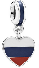 Load image into Gallery viewer, Authentic Pandora Russia Heart Flag Pendant Charm 791549ENMX  Enamel Sterling