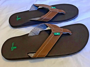 SANUK - STRAIGHT SHOT - Chestnut Brown - Men's - 9 - Thong Sandal Shoes