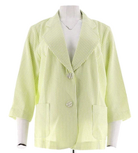 Load image into Gallery viewer, Joan Rivers Seersucker Jacket with 3/4 Sleeve A262521 Lime and White Womens Sz 8