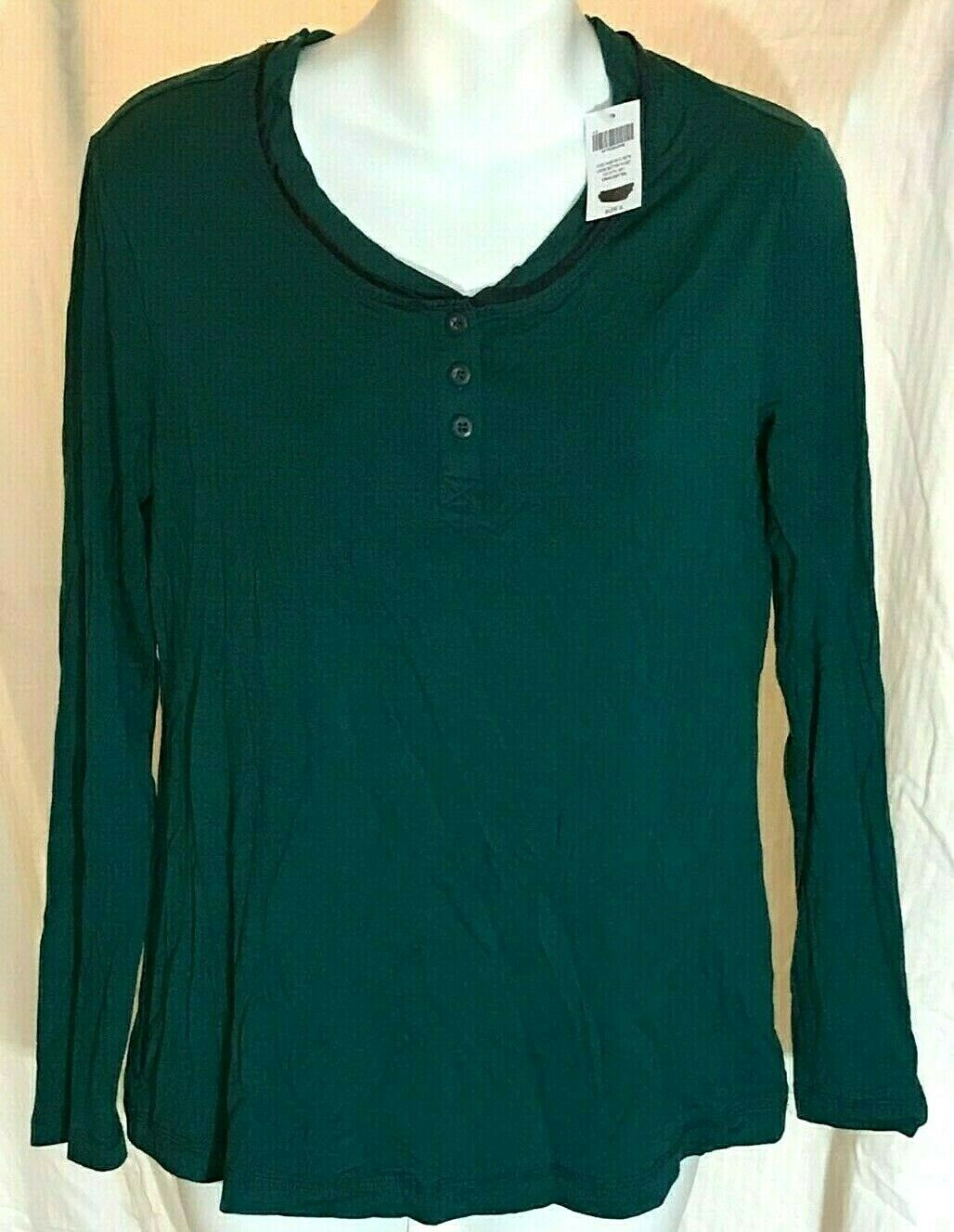Soma Cool Nights Pajama Long Sleeve Crew 2 Button Top Women's Small - Deep Teal