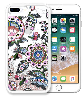 Vera Bradley Glitter Flurry Case for iPhone 8+ 7 Plus in Stitched Flowers Float