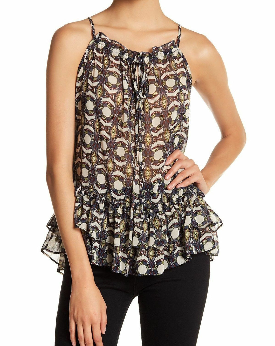 Ro & De Optical Medallion Ruffle Spaghetti Strap Cami Blouse - Small - $58 - NWT
