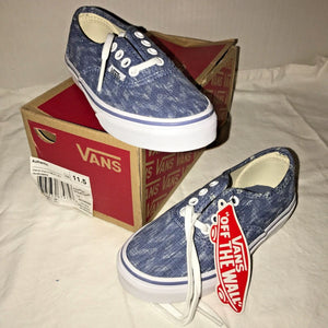 VANS AUTHENTIC Skate Shoes DENIM CHEVRON Blue True White Kids Youth 11.5 - New