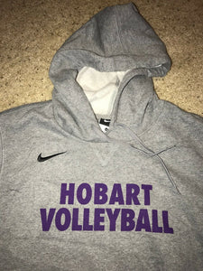 NIKE Gray Fleece Hoodie HOBART VOLLEYBALL New $50