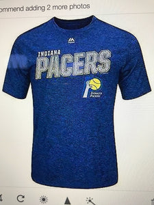 Majestic Hardwood INDIANA PACERS Mens Athletic Big Timer's Tee Blue MEDIUM Poly