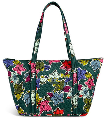 Vera Bradley MILLER BAG Large Zip Travel Tote - Falling Flowers - Green  - $88