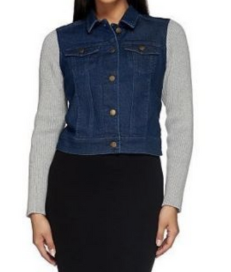 Liz Claiborne New York Denim Crop Jacket Sweater Sleeve Med Indigo Blue 12