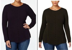Style & Co Women Plus Sz Ribbed Sweater 3X Dark Grape Purple Or Ivy Green 2X 3X