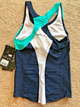 Load image into Gallery viewer, Orca Core Support Women Sleeveless Running Triathlon Singlet Bra Navy/Teal Sz XS