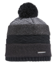 Load image into Gallery viewer, Sean John Mixed Media Wool Pom Stripe Beanie Macy's Exclusive Hat Black or Ivory