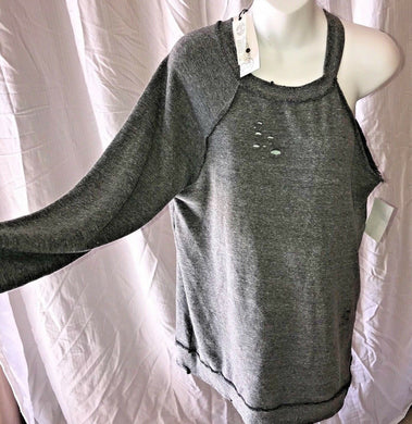 Treasure & Bond Grey Dark Heater Single Long Sleeve Sweatshirt Distressed Medium