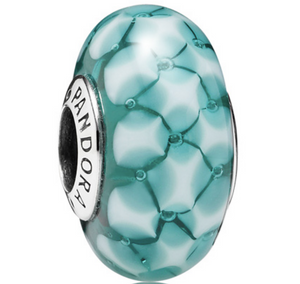 Authentic Pandora Teal Faceted Murano Glass Charm 791625 Sterling Silver 925
