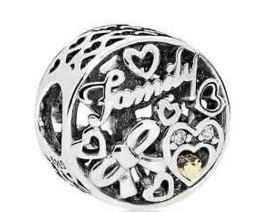 Authentic Pandora Family Tribute Charm 796267CZ CA Sterling Silver & 14K Gold