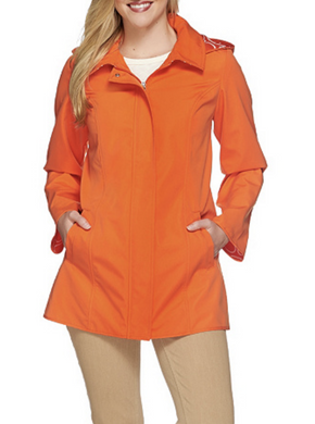 Dennis Basso Women LARGE Water Resistant A-Line Jacket Tigerlily Orange Raincoat