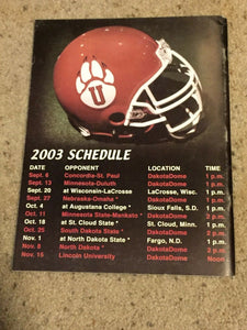 2003 UNIVERSITY OF SOUTH DAKOTA COYOTES COLLEGE FOOTBALL MEDIA GUIDE b6