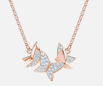 Swarovski Lilia Crystal Butterflies Necklace Rose Gold Plt 5382366 White Pave