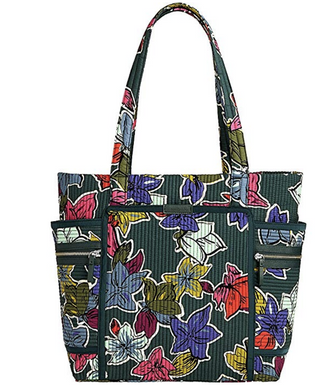 Vera Bradley Iconic Deluxe Vera Tote Bag in Falling Flowers Quilted Cotton  $118