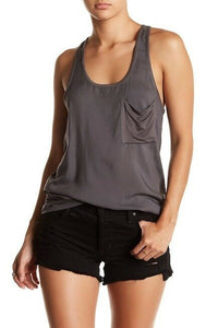 Women's14th & Union Mixed Media Pocket Tank Top - Feather Blue or Grey Magnet