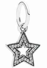 Load image into Gallery viewer, Authentic PANDORA Star Silver Dangle Charm 791348CZ CZ Sterling Silver