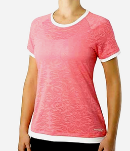 Saucony Womens LX Short Sleeve Semi-Fitted Shirt 80572 PLM - Pink White -  XS