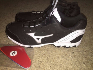 Mizuno 9 Spike Vintage 7 Switch Mens Baseball Metal Cleats Black White