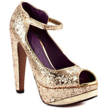 Load image into Gallery viewer, WOMEN's BABY PHAT FENOIX GOLD GLITTER Platform Pump Shoes Sz 7.5