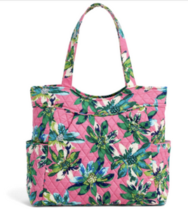 Vera Bradley Factory Style PLEATED TOTE Large Bag Purse Tropical Paradise