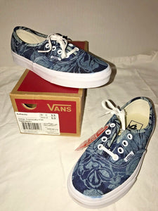 Vans Unisex Authentic Indigo Tropical Skate Shoes Blue True White Women 5 or 5.5