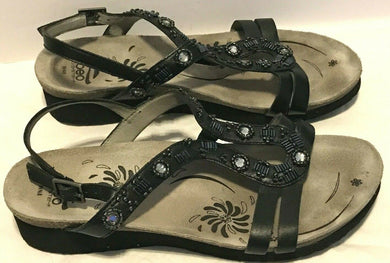 Abeo Cheri BIO Adjustable Strap Slide Sandals Women's 8 N Neutral - Black