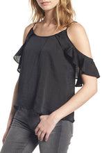 Load image into Gallery viewer, BP Satiny Ruffle Cold Shoulder Adjustable Straps Top Blouse Blue or Black XXS  S