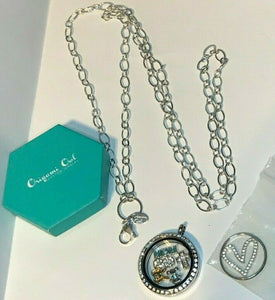 Origami Owl Silver Hinge Crystal Locket Oval Flat Chain Necklace Heart Plate +5