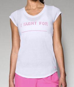 "Under Armour Power in Pink Women's ""I Fight For"" T-Shirt 1264863 $29 White XS M"