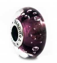 Load image into Gallery viewer, Authentic Pandora Purple Fizzle Murano Glass Charm 791616CZ Sterling Silver 925