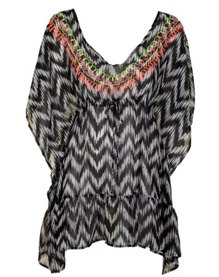 Miken Juniors Swim Black White Printed Embroidered V-Back Ruffled Cover-Up Tunic