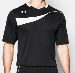 Under Armour UA HeatGear Chaos Soccer Jersey SS Shirt 1277680 Black Blue White