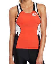 Load image into Gallery viewer, Pearl Izumi Elite Women Tri Singlet In-R-Cool Cycling Jersey Tomato/White $85