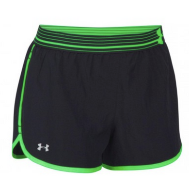 Under Armour Women's UA HeatGear Perfect Pace Running Shorts 1253858 Black Green