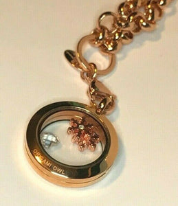RARE Origami Owl Rose Gold Snowflake Charm Locket Rolo Chain Necklace Hostess