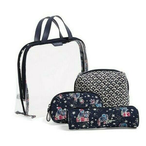 Vera Bradley 4 pc Travel Cosmetic Organizer in RETIRED Holiday Owls - $75