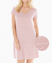 Load image into Gallery viewer, Soma Cool Nights Short Sleeve Sleepshirt Pink Garland Stripe Gown - Medium - $42