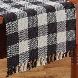 Wicklow Check 13x36 Table Runner - Black/Cream