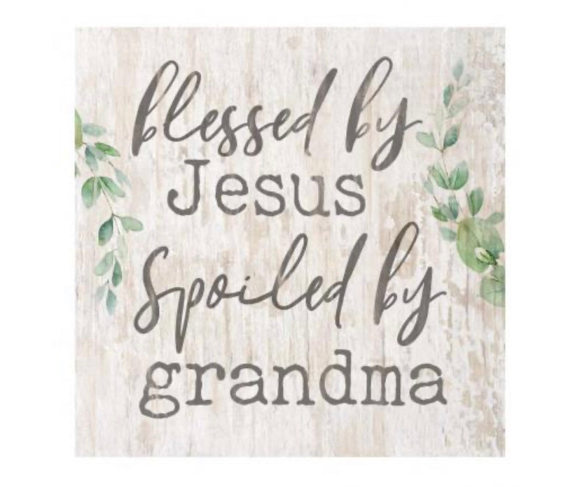 Jesus and Grandma Wood Block
