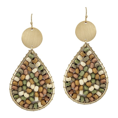 Light Multi Wood Teardrop Earrings