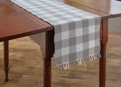 "Wicklow Check 54"" Table Runner Dove (Gray/White)"