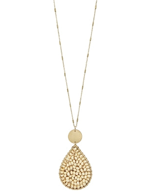Natural Wood Teardrop Necklace