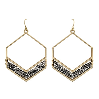 Gold Hexagon with Hematite Crystals Earrings