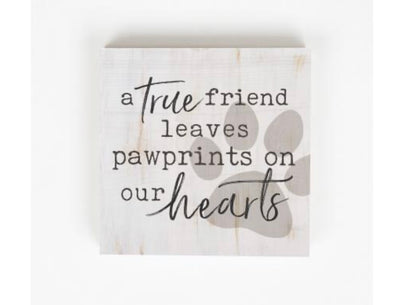 Pawprints on our Hearts Wood Block