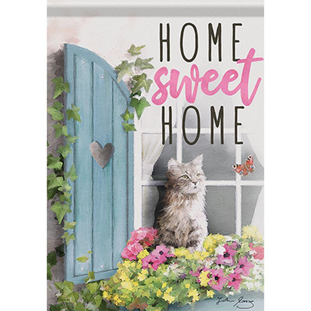 Flower Box Cat Garden Flag