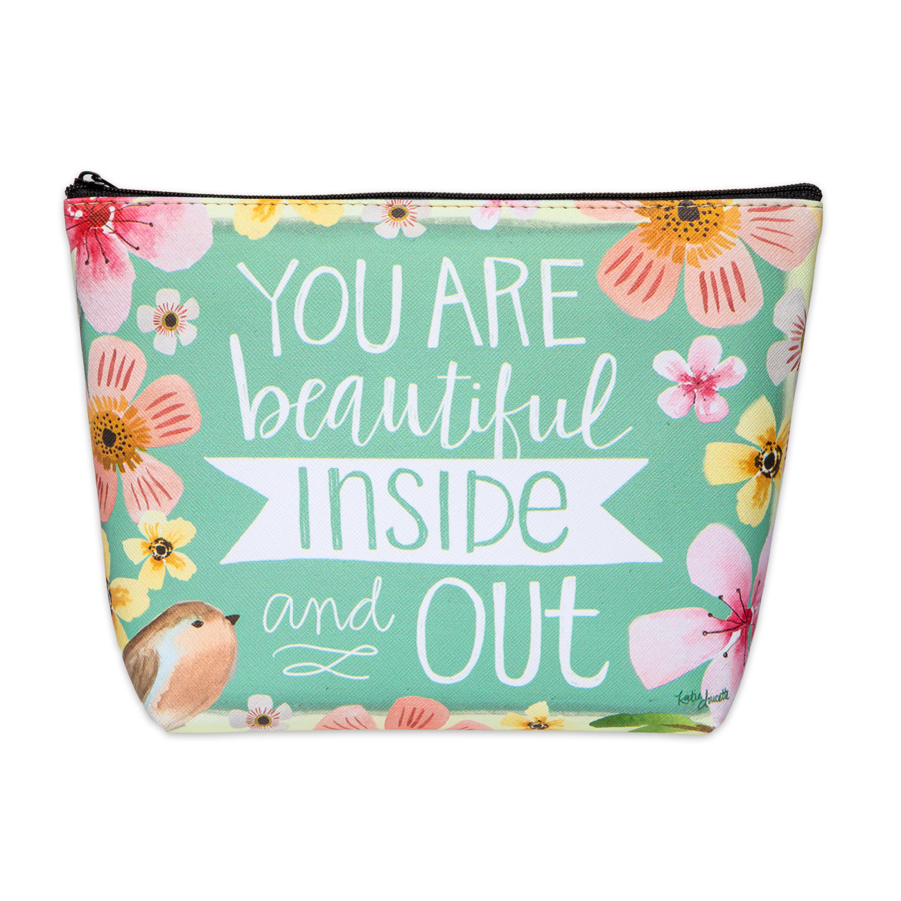 Beautiful Inside and Outside Zippered Cosmetic Bag