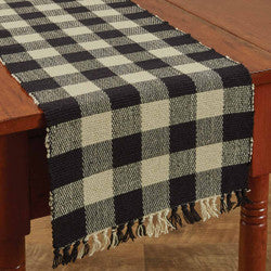 Wicklow Check 13x36 Table Runner Black/Tan